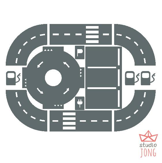Sticker autobaan uitbreidingsset donkergrijs