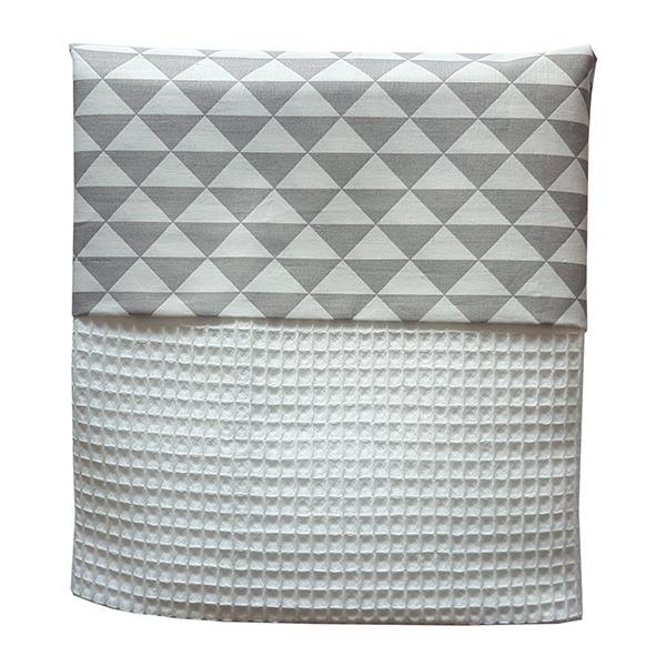 Wiegdeken wafelstof grijs - wit driehoek