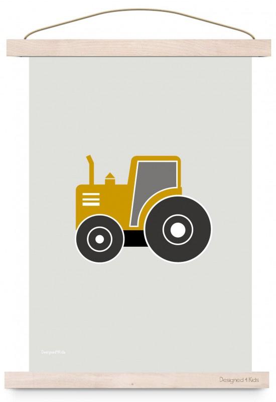 Poster kinderkamer tractor oker okergeel
