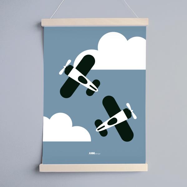 Poster vliegtuigen kinderkamer -  jeans blauw