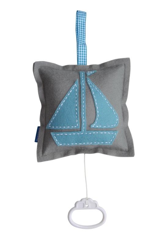 Muziekdoosje zeilboot grijs-lichtblauw-aquablauw