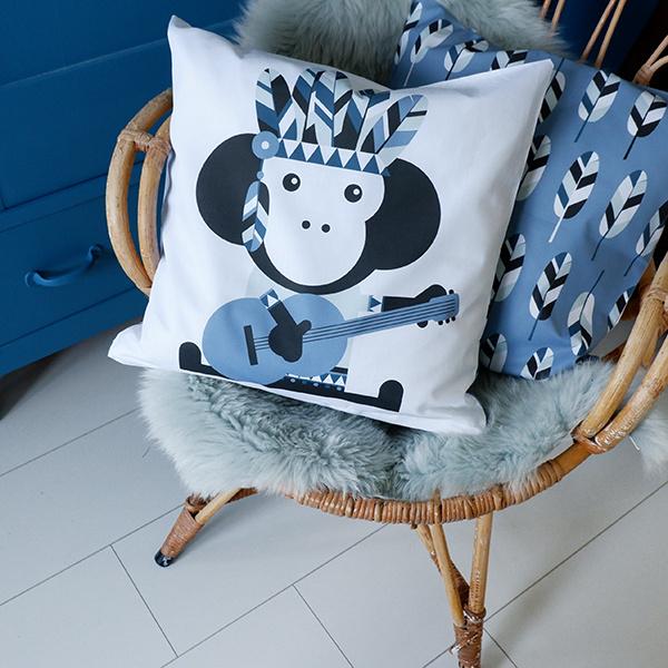 Kussen Indiaan Aap - jeans blauw