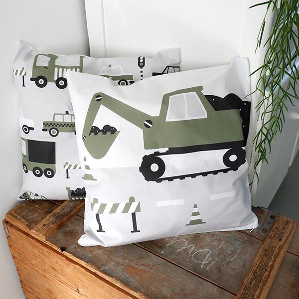 Kussen graafmachine voertuig olijf groen - inclusief binnenkussen