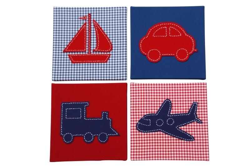 Kinderschilderijen rood blauw 4 luik