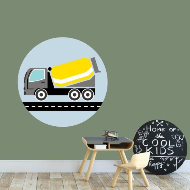 Behangcirkel kinderkamer - cementwagen geel