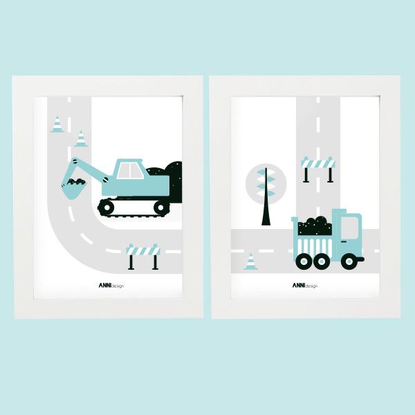 Posterset voertuigen graafmachine  kinderkamer - blauw