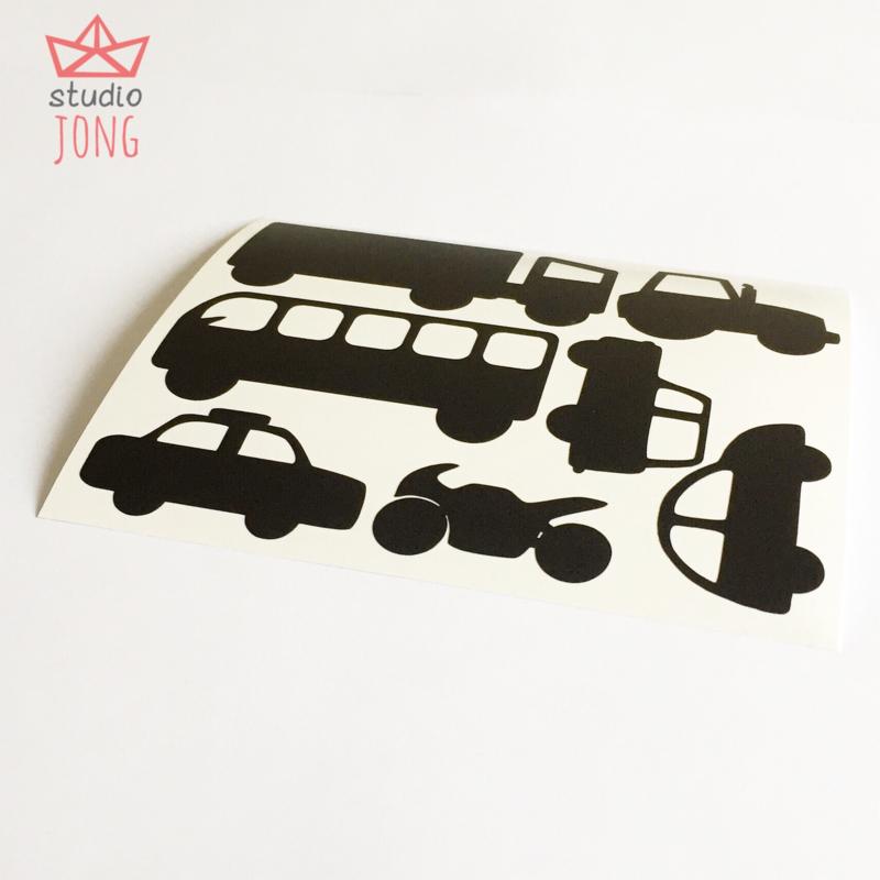 Autobaan sticker XL - voertuigen zwart
