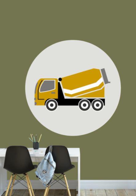Behangcirkel kinderkamer - cementwagen oker