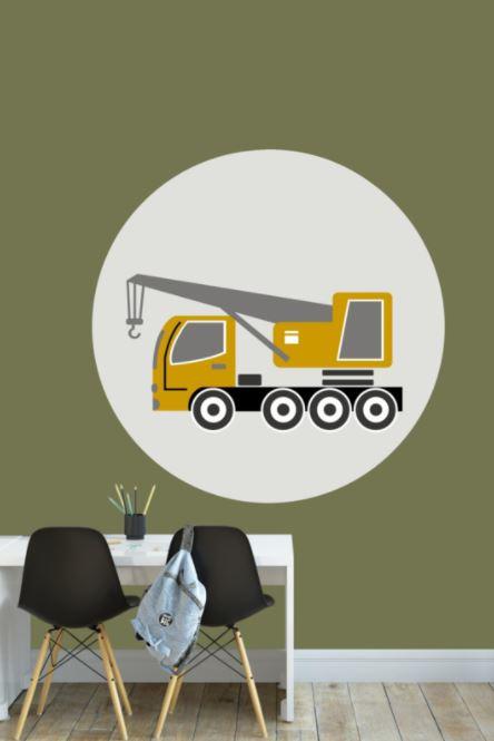 Behangcirkel kinderkamer - oplegger voertuig oker