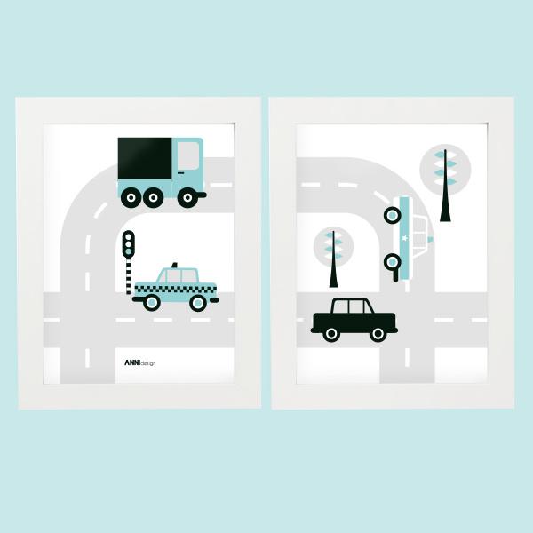 Posterset voertuigen auto  kinderkamer - blauw