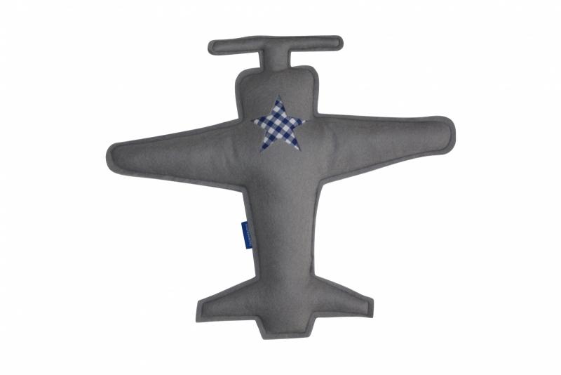 Vliegtuig knuffel (grijs-blauw)