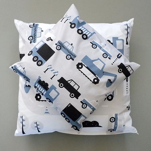 Kussen auto voertuigen jeans blauw - inclusief binnenkussen