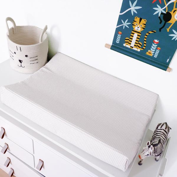 Aankleedkussenhoes babykamer wafelstof wit - basic