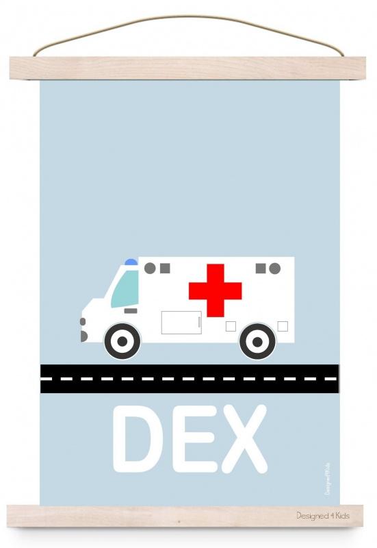 Poster ambulance auto met naam