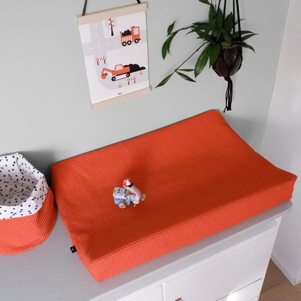 Aankleedkussenhoes babykamer wafelstof terracotta rood (roest) - basic
