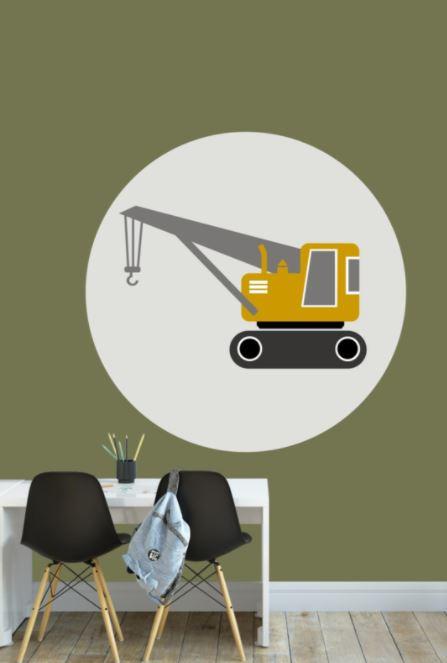 Behangcirkel kinderkamer - kraanwagen oker