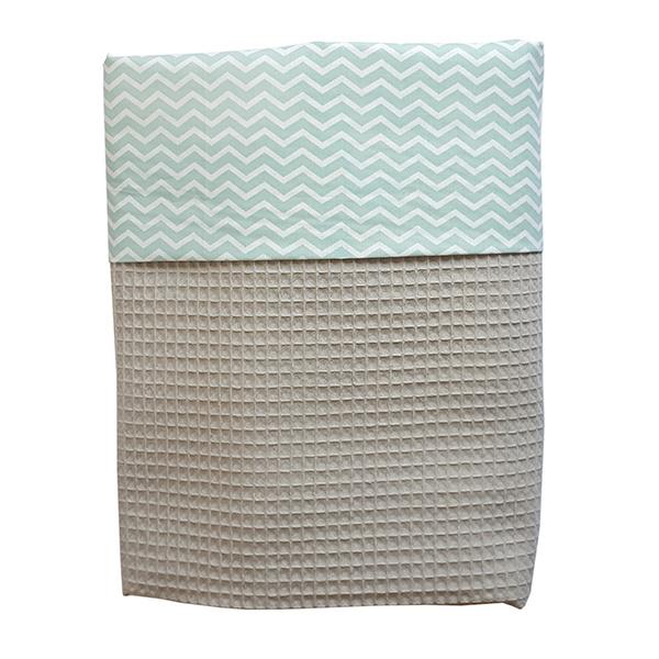 Wiegdeken wafelstof grijs- mint zigzag