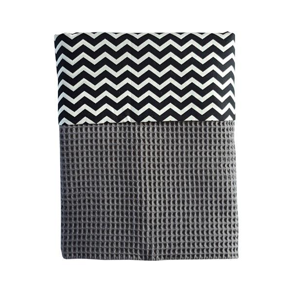 Ledikantdeken wafelstof donkergrijs - zwart wit zigzag