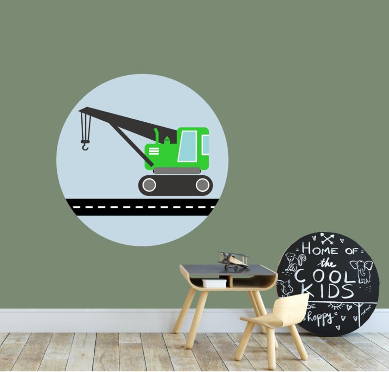Behangcirkel kinderkamer - kraanwagen groen