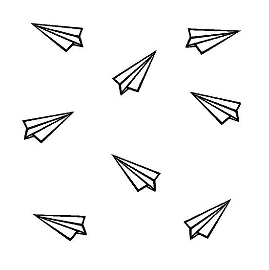 Papieren vliegtuigjes muursticker