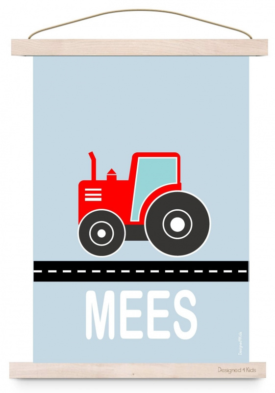 Poster jongenskamer tractor met naam