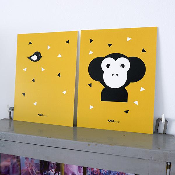 Posterset apenkop kinderkamer oker geel