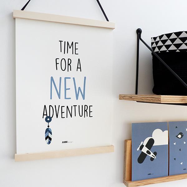 Poster kinderkamer adventure - jeans blauw