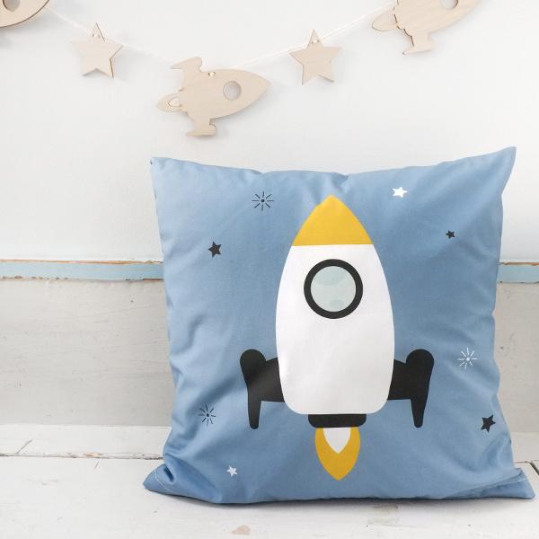 Kussen kinderkamer ruimtevaart raket - jeans blauw