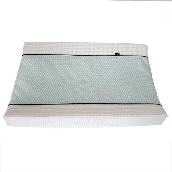 Aankleedkussenhoes wafelstof - mint zigzag
