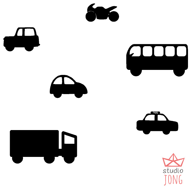 Autobaan sticker uitbreidingsset voertuigen zwart