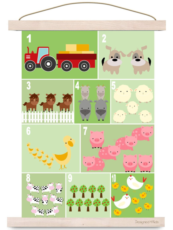 Poster kinderkamer dieren tellen boerderij