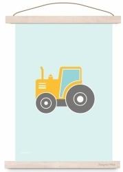 Poster kinderkamer tractor mint geel grijs