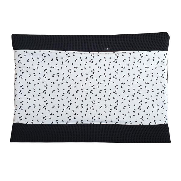 Aankleedkussenhoes wafelstof zwart - zwart wit triangel