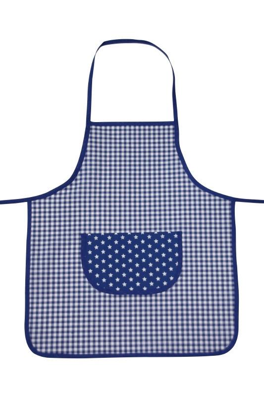 Kinderkookschort ruit+ster (blauw)