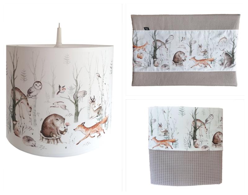 Babykamer aankleding en decoratie set - Bosdieren (met lamp)