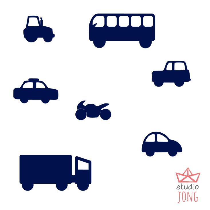 Autobaan sticker uitbreidingsset voertuigen donker blauw