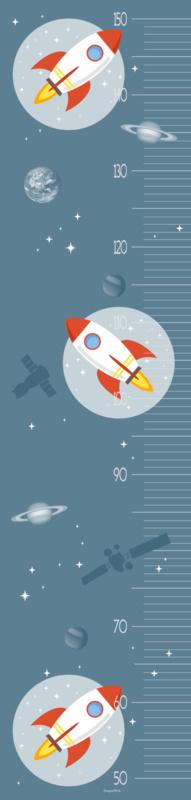 Groeimeter meetlat poster ruimtevaart kinderkamer