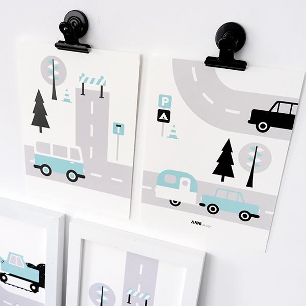 Posterset kinderkamer Caravan voertuigen - lichtblauw