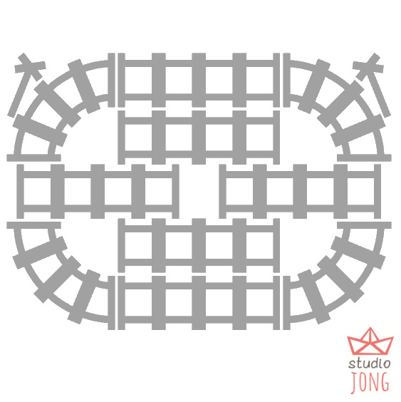Sticker treinbaan rails grijs