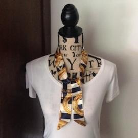 Zijden 'Twilly' (100x 4) kleur S12. Leuk om de hals of te dragen aan de tas a là Hermes! In verschillende kleuren.