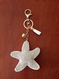Key chain 'ster' met rhinestones, kwastje en goudkleurig bolletje