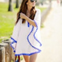 Stijlvol op het strand! Bikini cover up wit met blauwe bolletjesrand, one-size