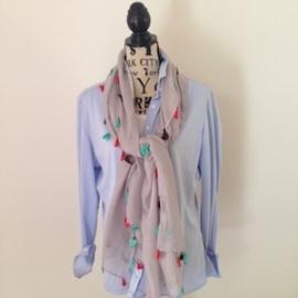 Sjaal met vrolijke kwastjes lichtgrijs