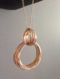 Ketting 'Cirkels' roségoud kleur, mooie zware kwaliteit, 42 cm lang