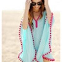 Stijlvol op het strand! Bikini cover up aqua met hardroze bolletjesrand, one-size