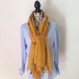 Sjaal met vrolijke kwastjes okergeel
