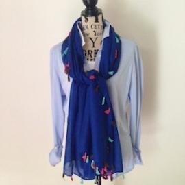 Sjaal met vrolijke kwastjes kobaltblauw