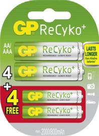 Batterij GP ReCyko 4AA + 4AAA PROMO. 2100mAh