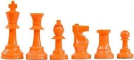 Orange plastic chess pieces