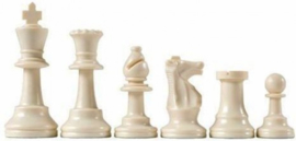 White plastic chess pieces, King 95 mm